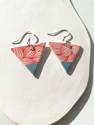 Triangular Drop Earring - Peacock Blue & Red Print