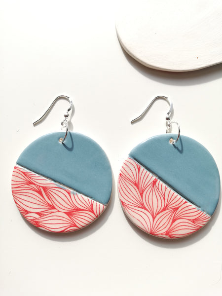 Full Moon Drop Earring - Peacock & Red Print