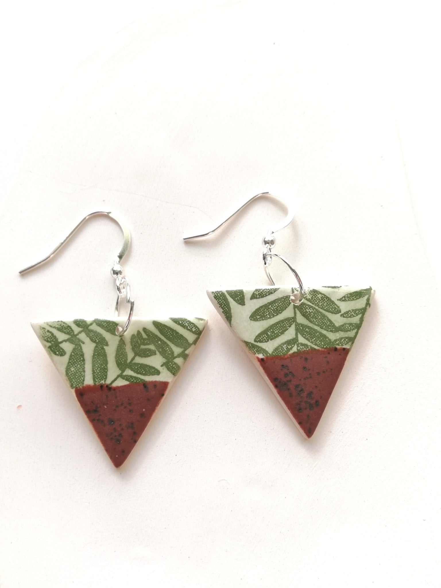 Triangular Drop Earring - Speckled Matt Brown with Green Plant Print