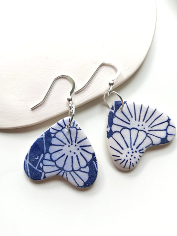 Sweetheart Drop Earring - Japanese Blue Floral Print