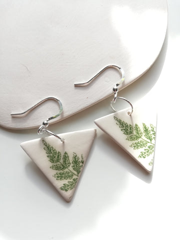 Triangular Drop Earring - Green Fern Leaf Print