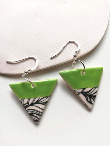 Triangular Drop Earring - Lime Green & Black Leafy Print