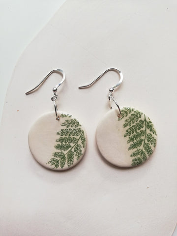 Circular Drop Earring - Green Fern Leaf Print