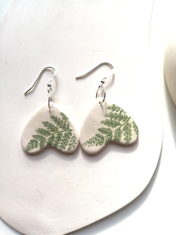 Sweetheart Drop Earring - Green Fern Leaf Print