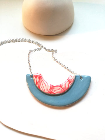 Peacock Blue & Red Print Geometric style necklace