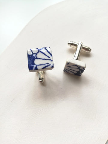 Square Ceramic Cufflinks - Japanese Blue Print