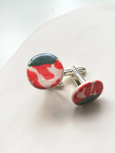 Round Ceramic Cufflinks - Red Animal Print & Green