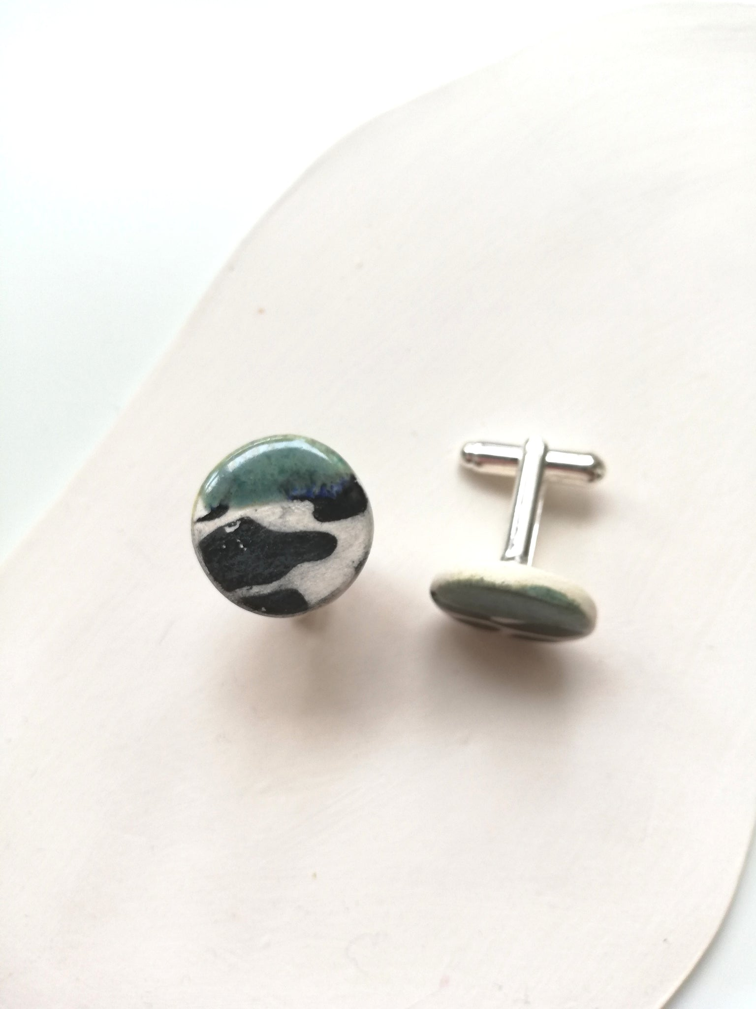 Round Ceramic Cufflinks - Black Animal Print & Green