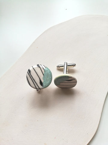 Round Ceramic Cufflinks - Mint Green with Black Geo Print
