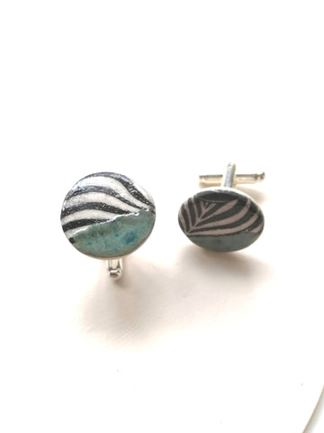 Round Ceramic Cufflinks - Black Striped Print & Green