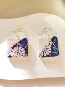 Blue Japanese Floral Printed Square Drop Earrings
