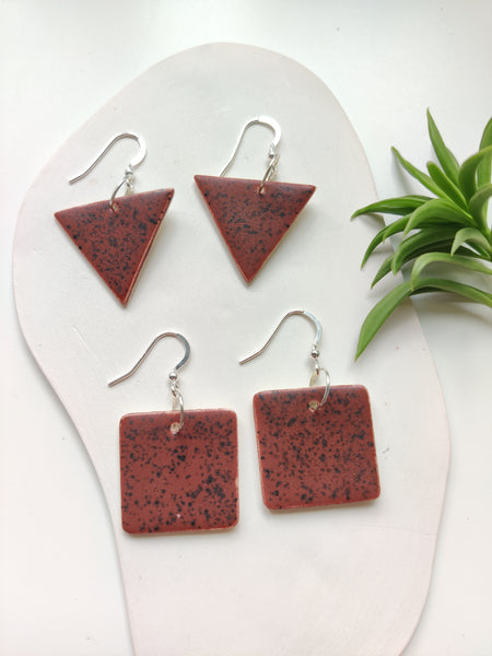 Speckled Brown Drop Earrings
