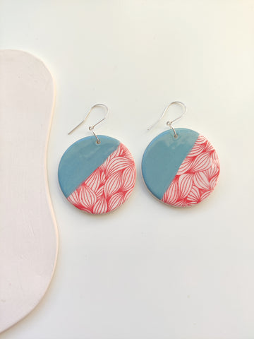 Large Circle Drop Earring - Peacock & Red Print