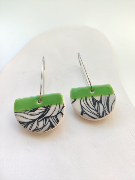 Cut Circle Drop Earring - Lime Green & Black Leafy Print