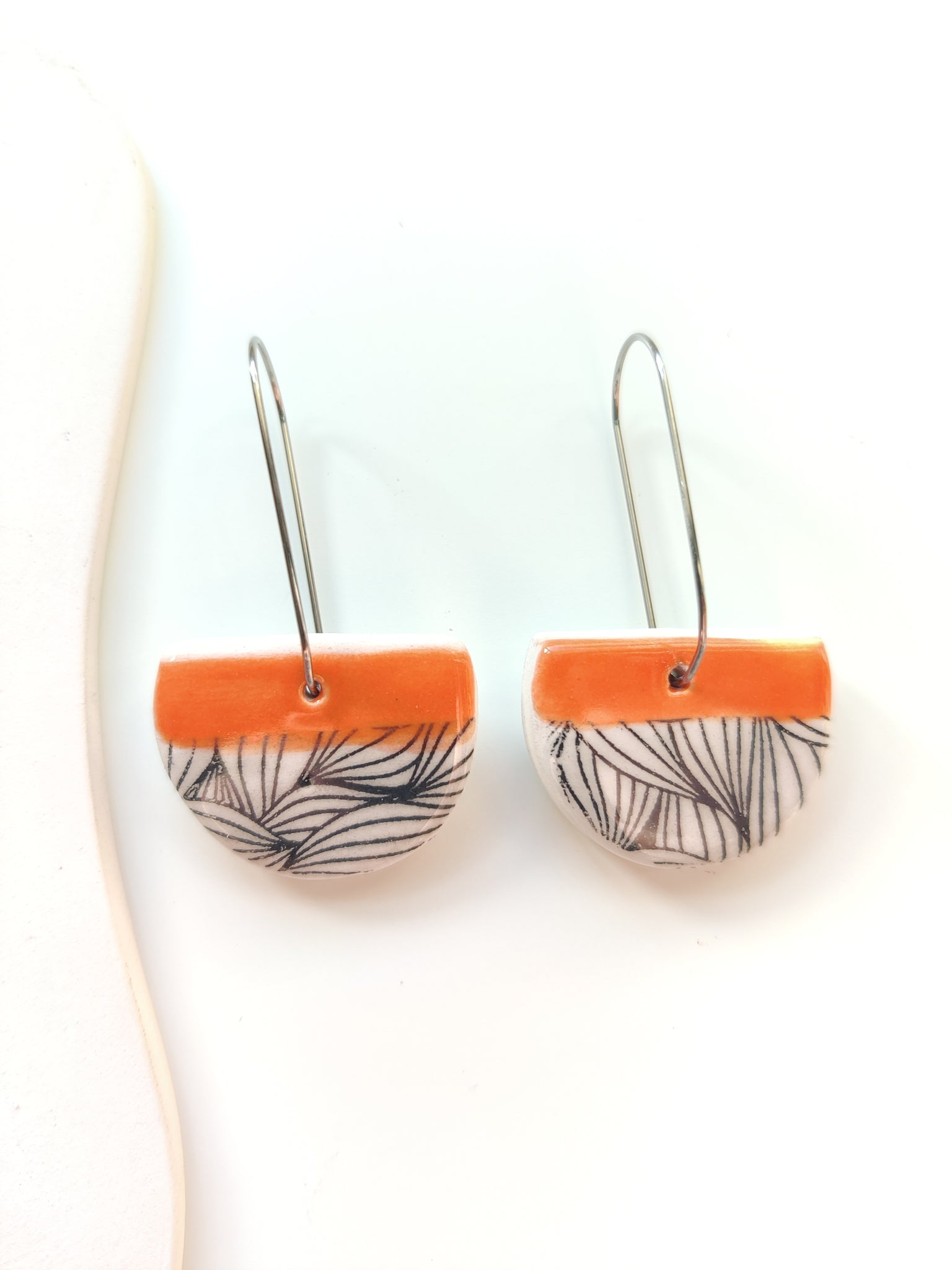 Cut Circle Drop Earring - Pumpkin Orange & Black Print