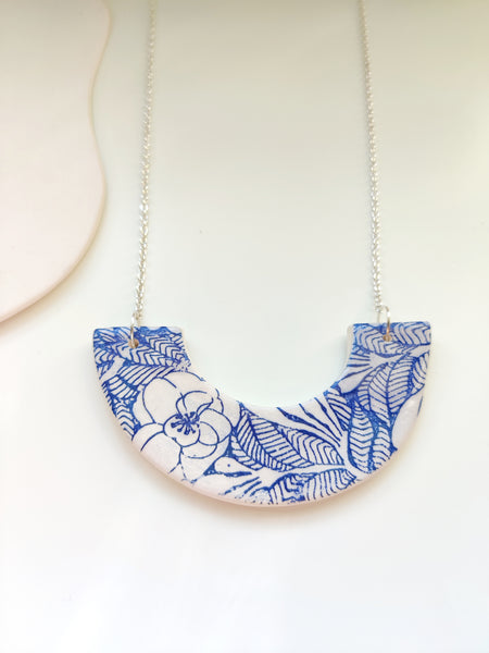 Small Crescent Blue Floral Necklace