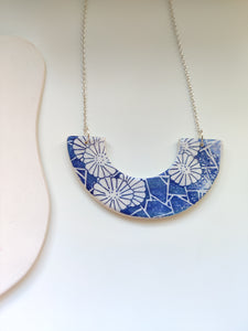 Small Crescent Japanese Blue Floral Necklace