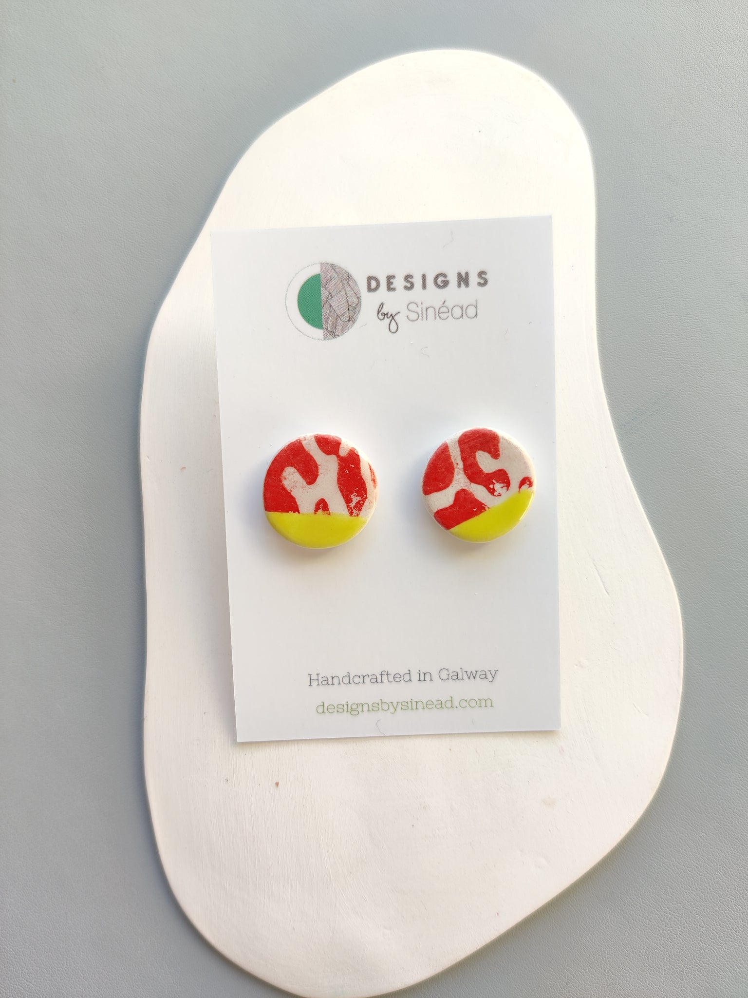 Circular Stud Earring - Canary Yellow & Red Animal Print