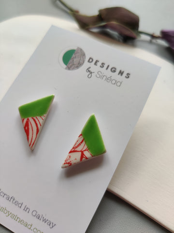 Triangular Drop Stud Earring - Lime Green & Red Print