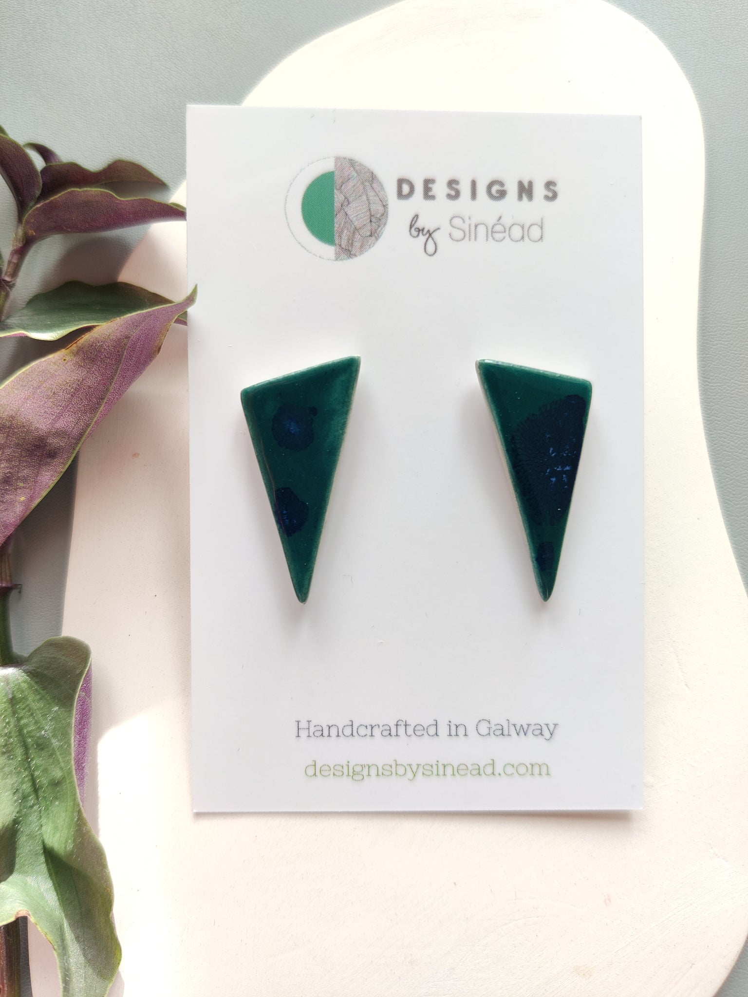 Triangular Drop Stud Earring - Deep Sea Speckled Green