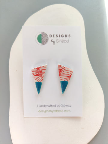 Triangular Drop Stud Earring - Peacock Blue & Red Print