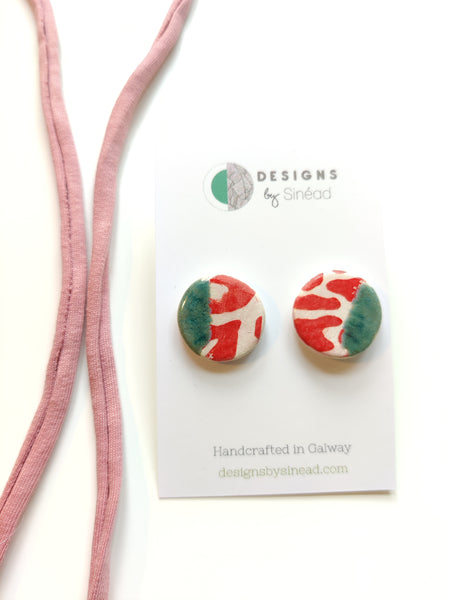 Circular Stud Earring - Speckled Green & Red Animal Print