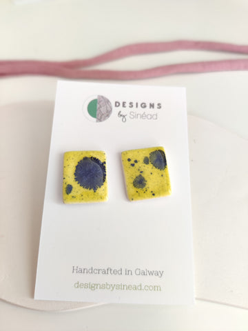 Electric Yellow - Large Square Stud Earring