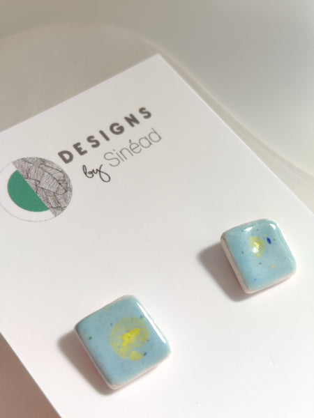 Sky Blue Fireworks - Small Square Stud Earrings