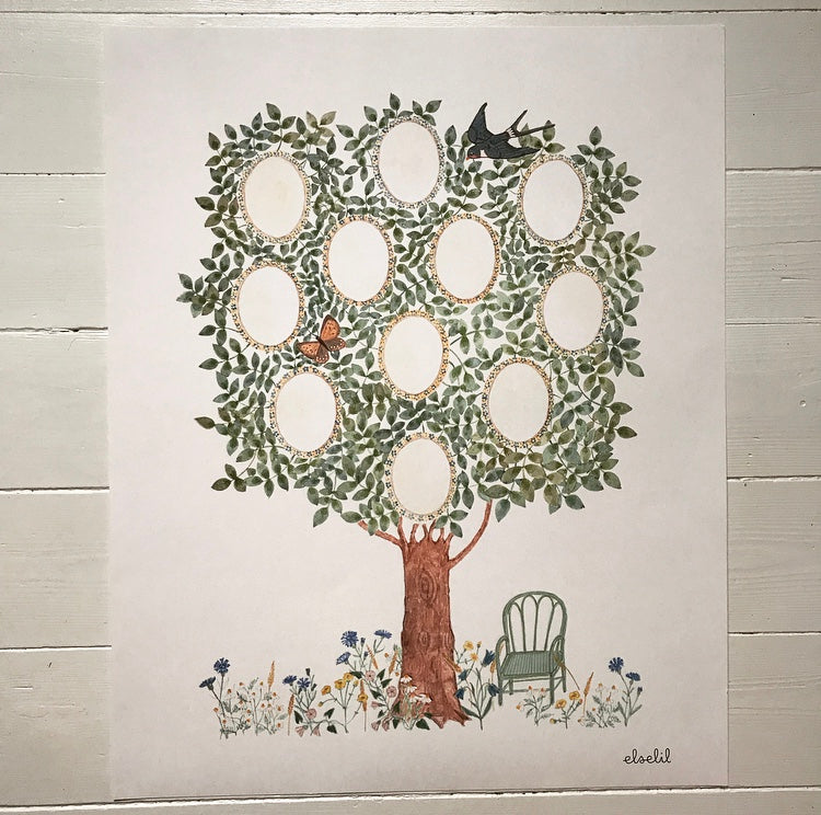 Art print, family tree.