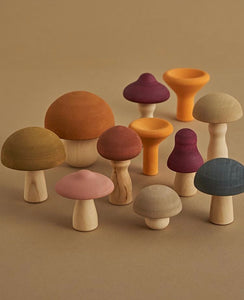 Set of wooden mushrooms