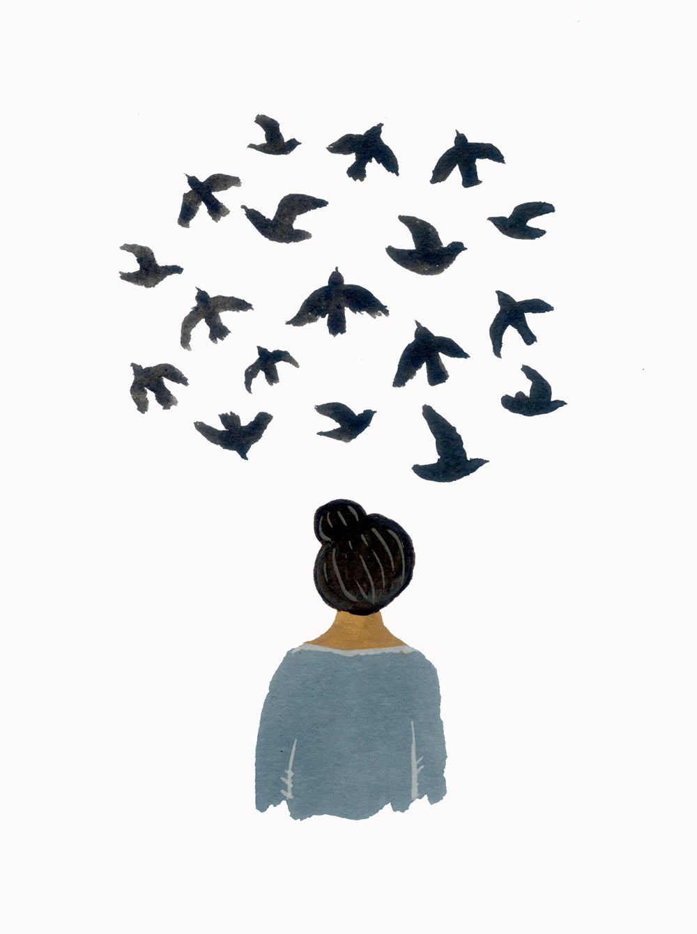 Art print, bird thoughts.