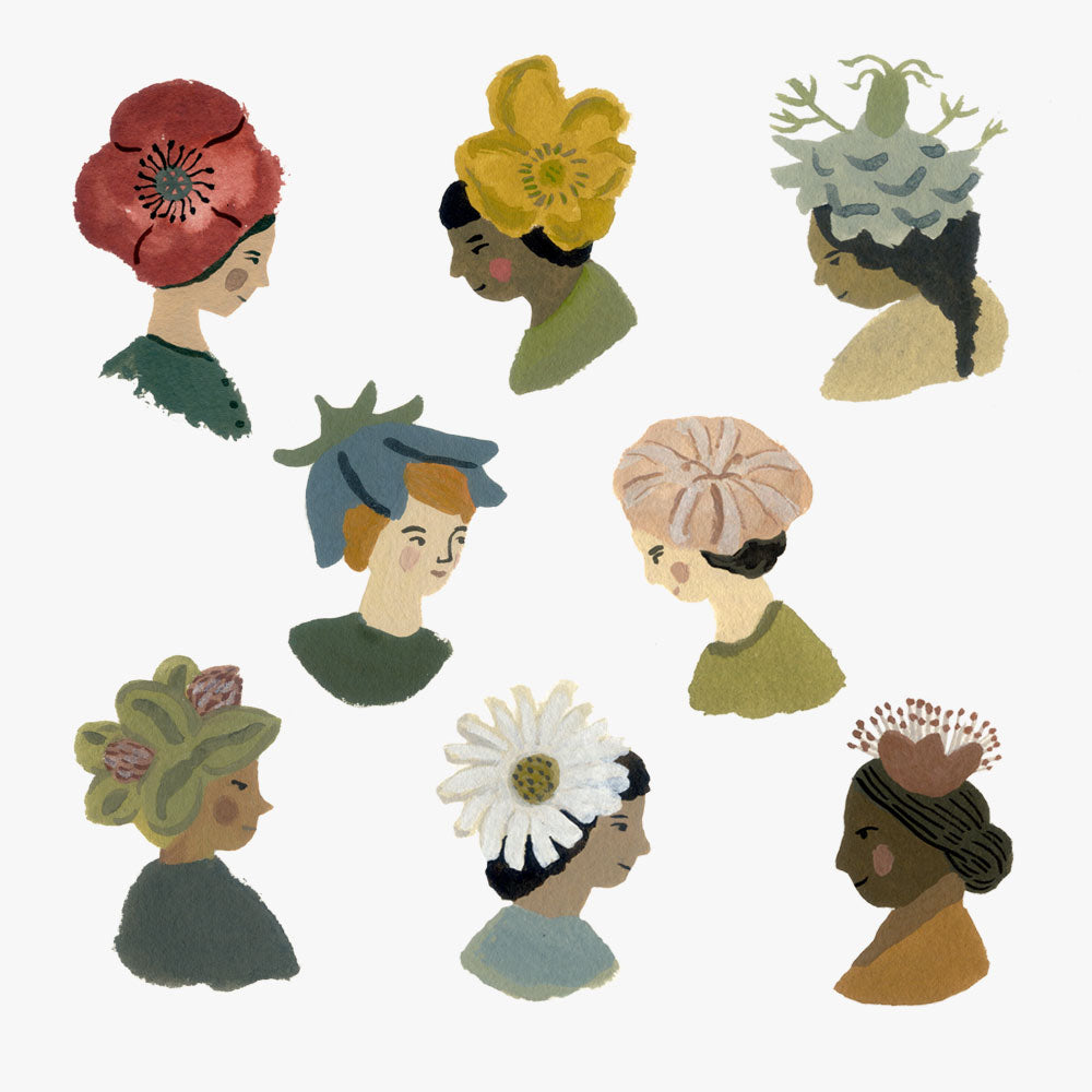 Art print, fine flower hats.