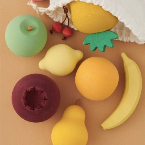 Set of wooden fruits.