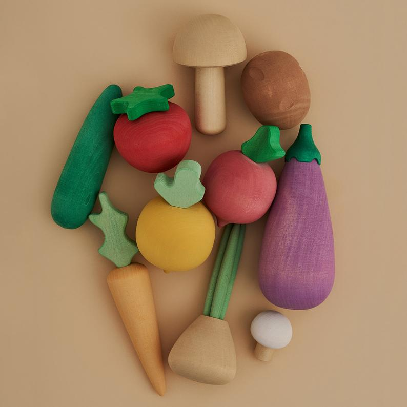 Set of wooden vegetables.