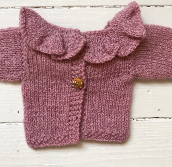 Handknitted ruffle collar doll sweater