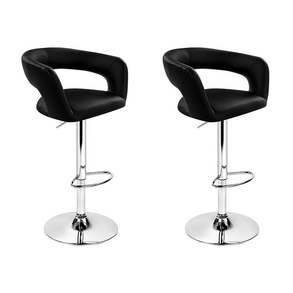 Artiss 2x Gas Lift Bar Stools Leather Chrome Black