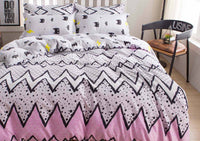 2pcs Single Size Pink with Cute Black Pattern Quilt Cover Set