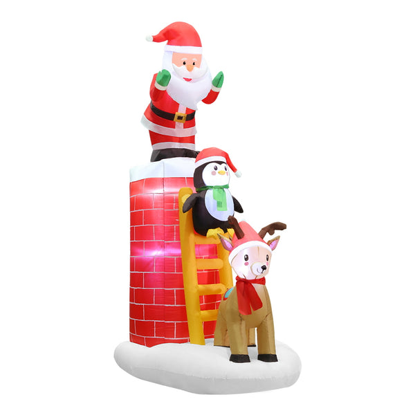 Jingle Jollys 2.4M Inflatable Santa on Chimney