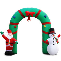 Jingle Jollys 2.8M Inflatable Giant Santa and Snowman Arch Way