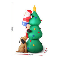 Jingle Jollys 1.8M Inflatable Santa on Tree