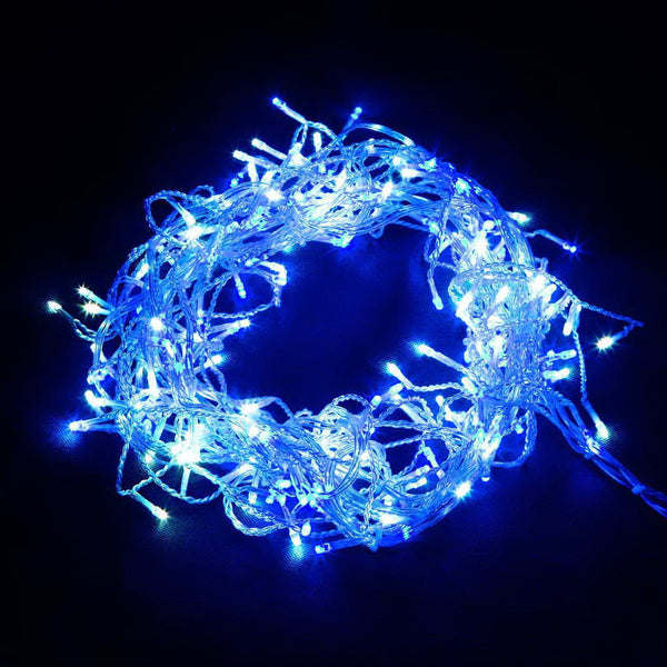 Jingle Jollys LED Christmas Icicle Lights - White and Blue