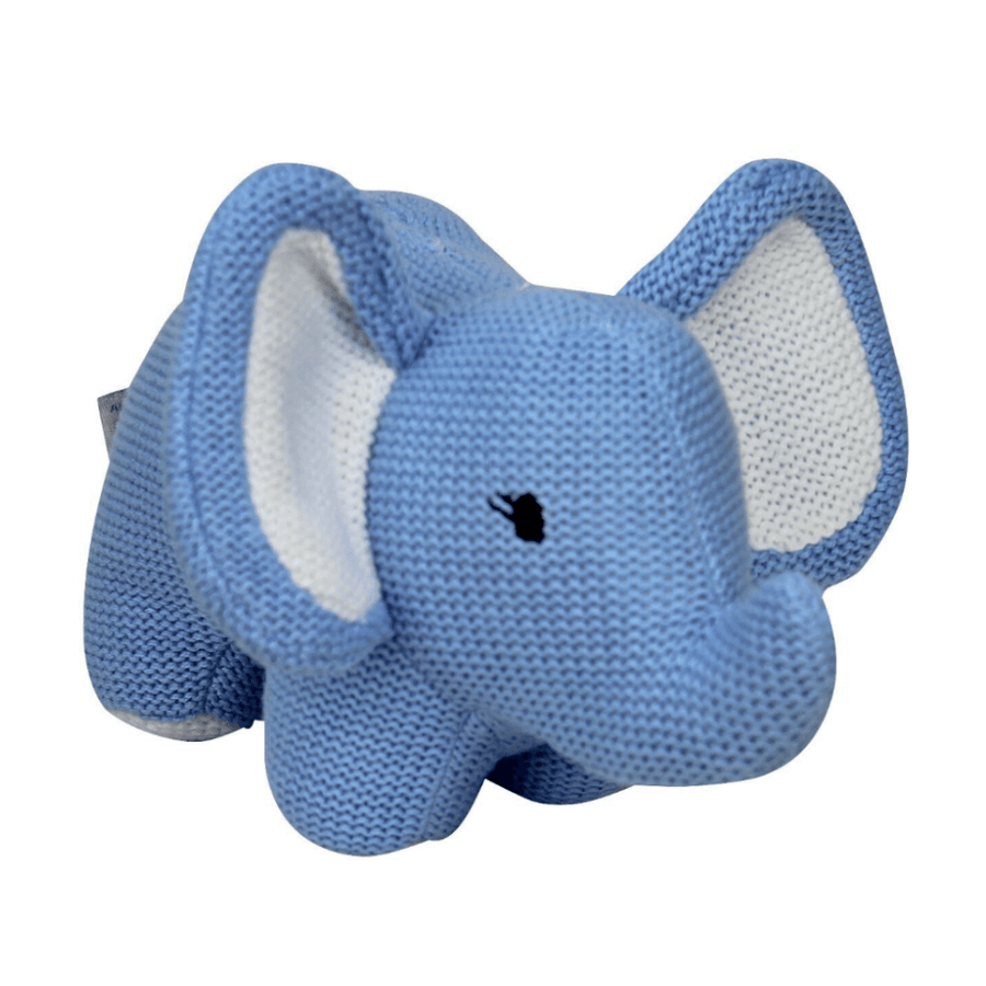 Blue Knitted Elephant Rattle by ES Kids