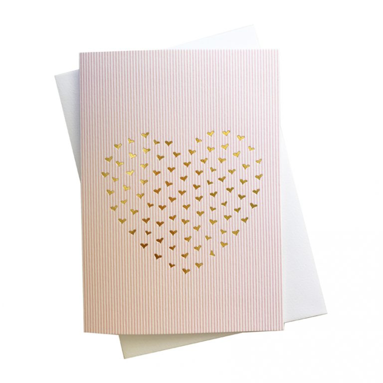 Pink Candy Pin Striped Card with Gold foil Hearts