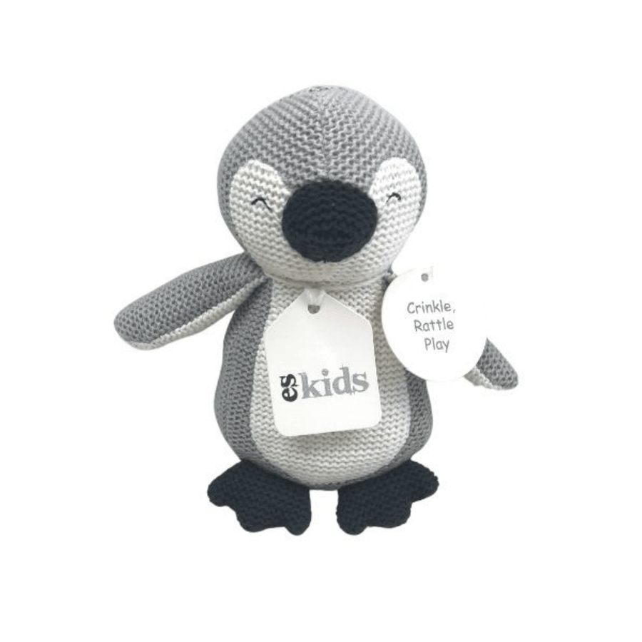 Grey Knitted Penguin Rattle by ES Kids