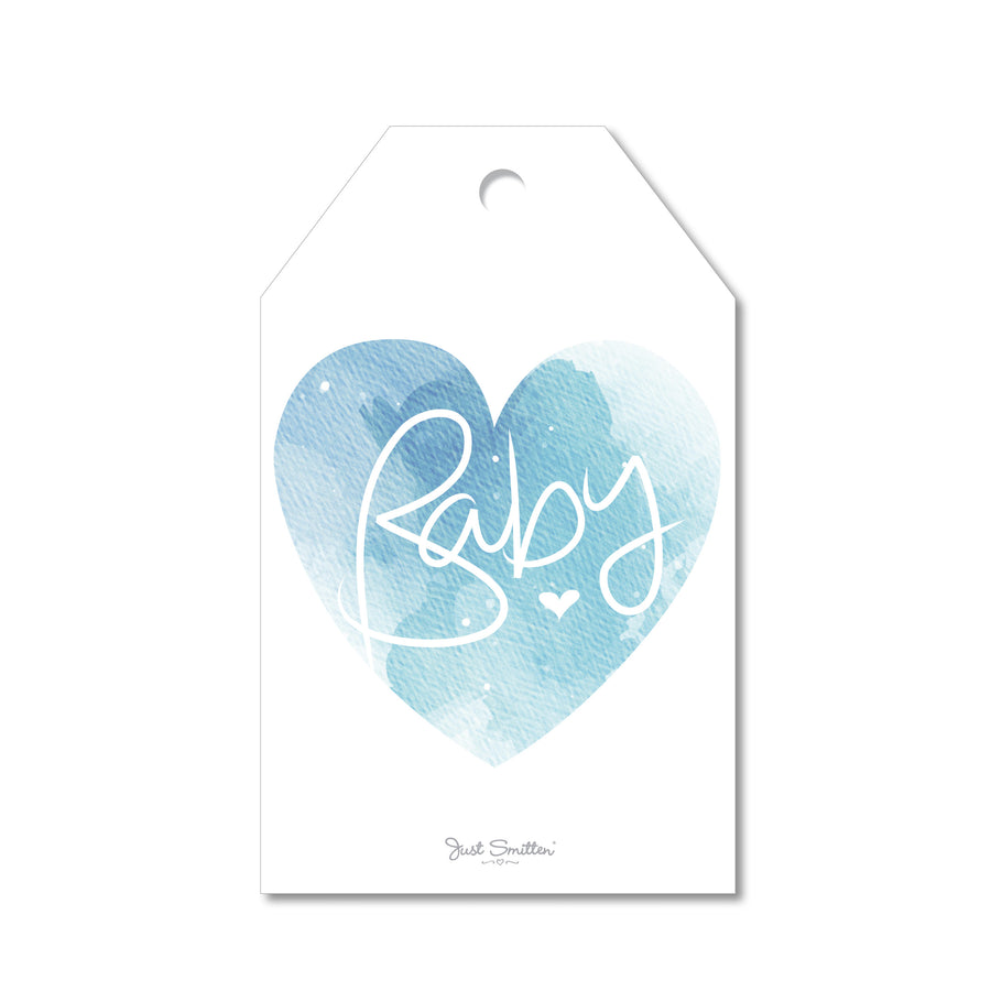 New Baby Marble Heart Gift Tag | Blue
