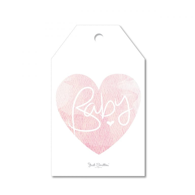 New Baby Marble Heart Gift Tag | Pink