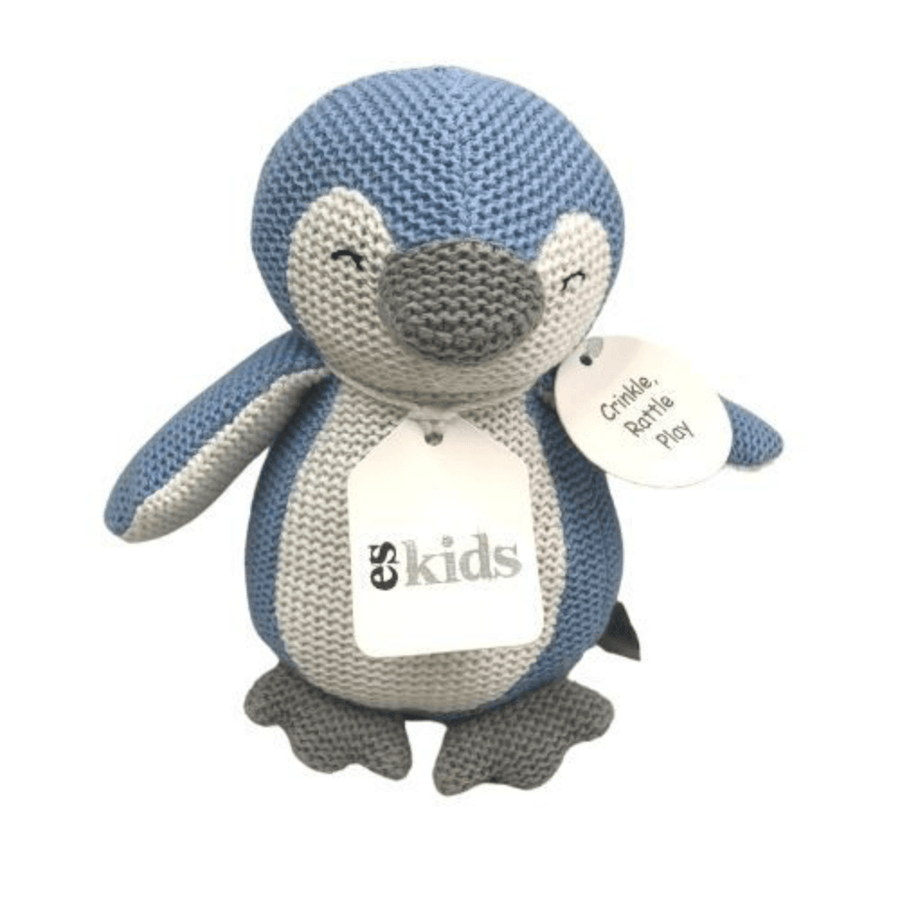 Blue Knitted Penguin Rattle by ES Kids