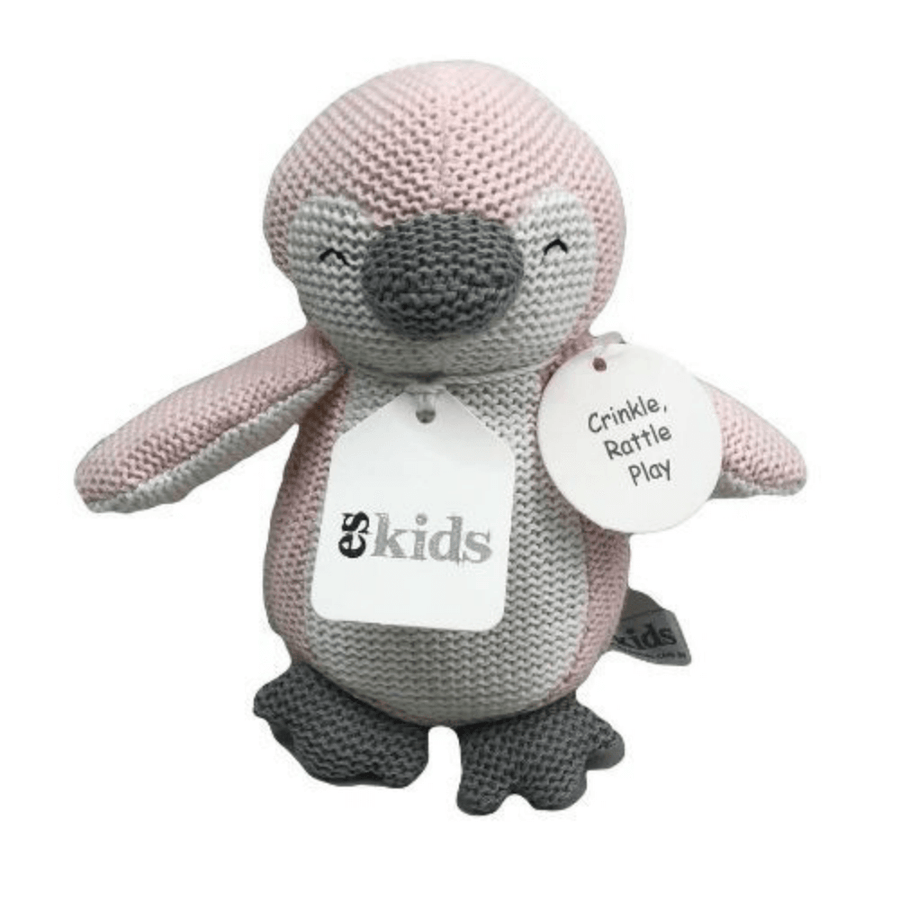 Pink Knitted Penguin Rattle by ES Kids
