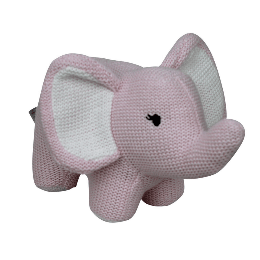 Pink Knitted Elephant Rattle by ES Kids