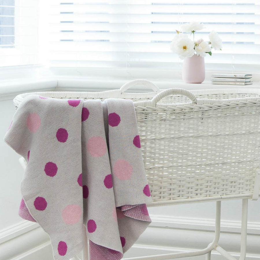 Pink Polka Dot Baby Blanket by Mint & Me